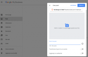 Google My Business - creare un post